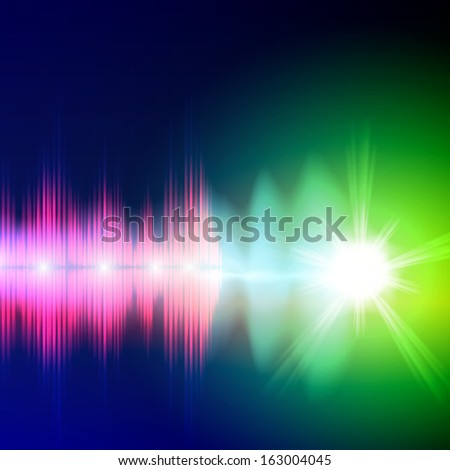 Abstract equalizer background. Blue-green wave with bright star. Raster version. - stock photo