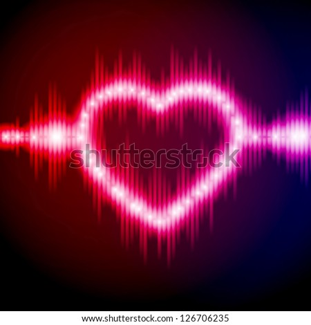 Abstract equalizer background with heart. Blue-Purple wave. Raster version of the loaded vector. - stock photo