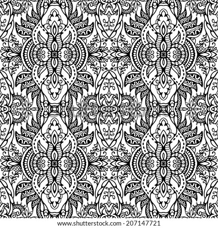 Abstract ethnic background, retro floral and geometric ornament, lace seamless pattern, hand drawn sketch artwork, card design, raster version black and white - stock photo