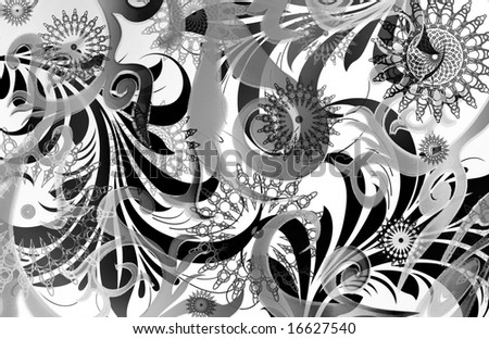 abstract ethnic geometric scroll layout with mechanical star emblems and diffused scrolls - stock photo