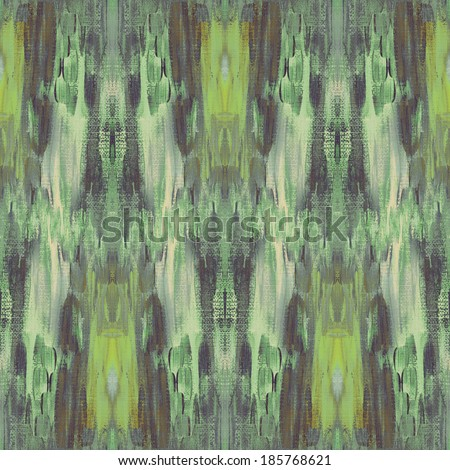 abstract ethnic painted seamless pattern, brush strokes background with canvas texture - stock photo