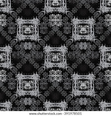 Abstract ethnic seamless pattern. Tribal art boho print, hand drawn ornament. Background texture, wallpaper, wrapping - stock photo