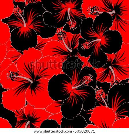 Tribal Art Boho Print Vintage Black And Red Flower Background