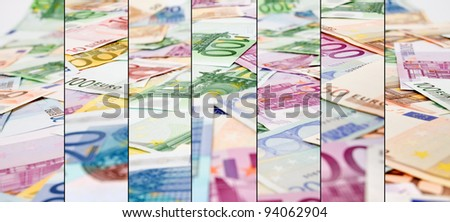 Abstract euro currency background - closeup strips - stock photo