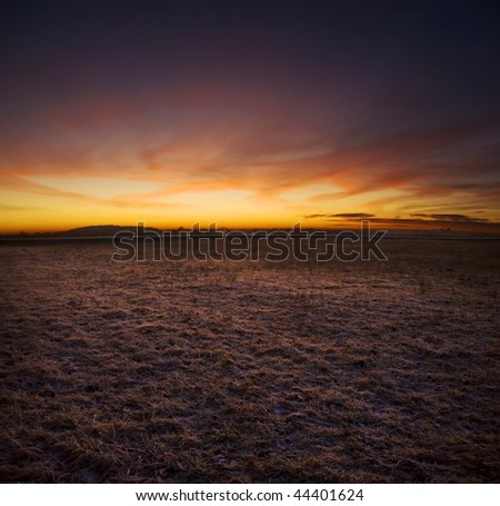 Abstract evening landscape - stock photo