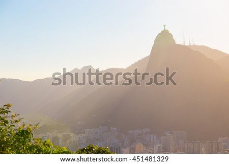 abstract evening view of Rio from the top of Sugar Loaf at sunset time