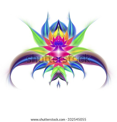 Abstract exotic flower on white background. Symmetrical pattern. Computer-generated fractal in bright blue, rose, green, yellow and violet colors. - stock photo