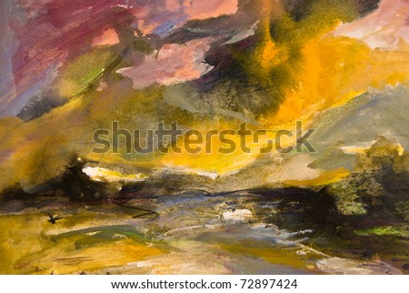 Abstract expressionist painted background - stock photo