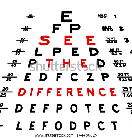 Abstract eye chart background design isolated on white.