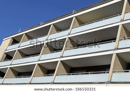 Abstract facade of a modern apartment building