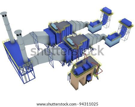 abstract factory interior, (gas-turbine power plant), 3d render isolated on white - stock photo