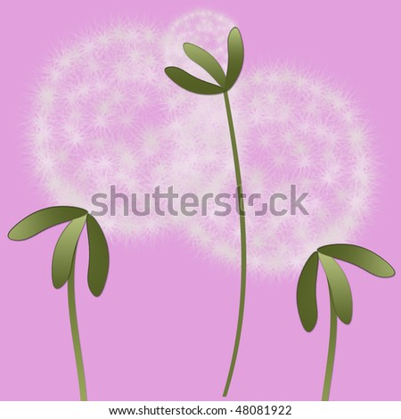 Abstract family of abstract dandelions - stock photo