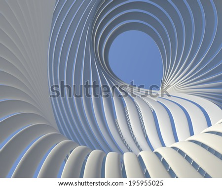 Abstract fantastic architectural design. Beautiful geometric futuristic background