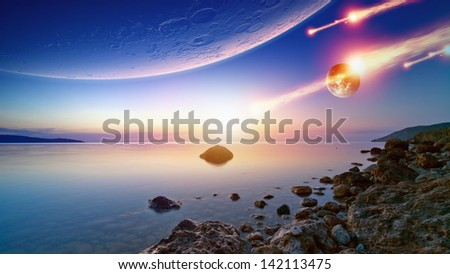 Abstract fantastic background - blue sunrise sky, smooth serene sea, alien planet in space, asteroid impact. Elements of this image furnished by NASA - stock photo
