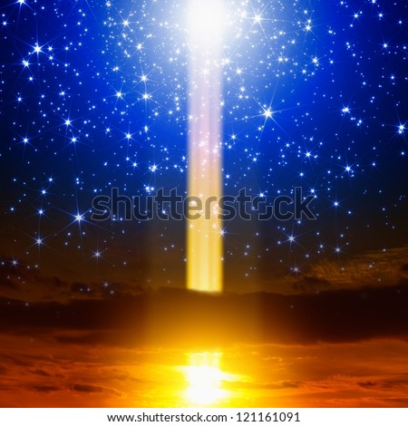 Abstract fantastic background. Energy, exploding, experiment, spotlight  from sky, bright blue stars - stock photo