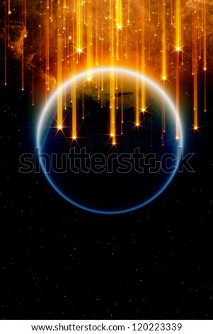 Abstract fantastic background - falling stars, planet earth in space, end of world. Elements of this image furnished by NASA - stock photo
