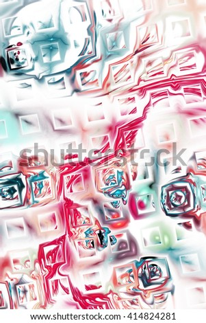 Abstract fantasy color splashes on white background. Creative pink and blue fractal design for greeting cards or t-shirts. - stock photo