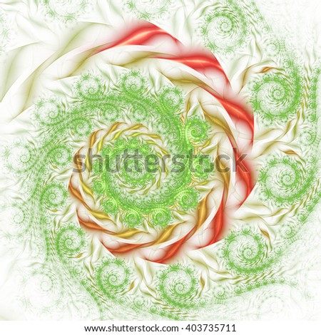 Abstract fantasy green and red spiral ornament on white background. Creative fractal design for greeting cards or t-shirts. - stock photo