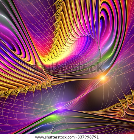 Abstract fantasy multicolor surreal decorative composition on black. Modern bright futuristic dynamic background with twirl and swirl and lighting effect. Fractal art for creative graphic design - stock photo