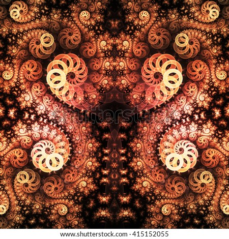 Abstract fantasy orange swirly ornament on black background. Symmetrical pattern. Creative fractal design for greeting cards or t-shirts.  - stock photo