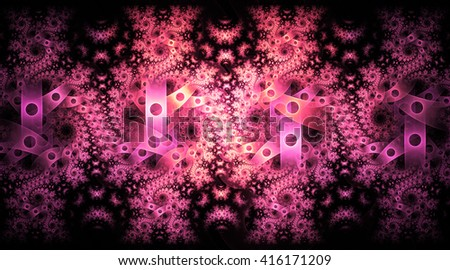 Abstract fantasy pink and violet spiral ornament on black background. Symmetrical pattern. Creative fractal design for greeting cards or t-shirts. - stock photo