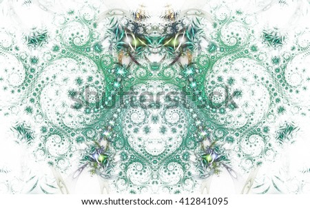 Abstract fantasy teal and grey spiral ornament  on white background. Symmetrical pattern. Creative fractal design for greeting cards or t-shirts. - stock photo