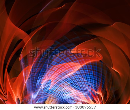 Abstract fantasy tunnel with orange fire. Fractal artwork for creative design. - stock photo