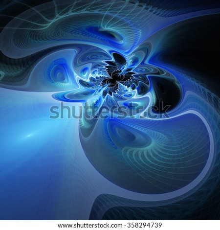 Abstract fantasy waves on black background. Computer-generated fractal in blue colors. - stock photo