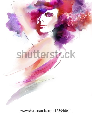 Abstract fashion illustration. Portrait of a beautiful elegance woman - stock photo