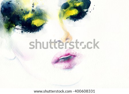 Abstract fashion watercolor illustration. Beautiful woman face - stock photo