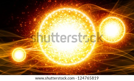 Abstract festive background - bright yellow spheres, smoke - stock photo