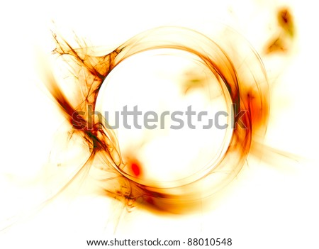 Abstract fiery circle on a white background - stock photo