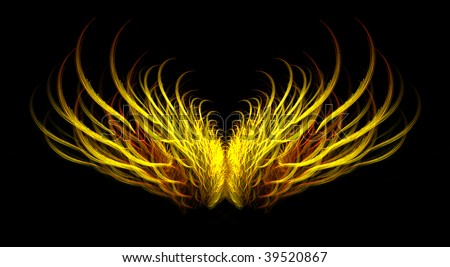 Abstract fiery mythical golden angel wing fractal isolated over black background. - stock photo