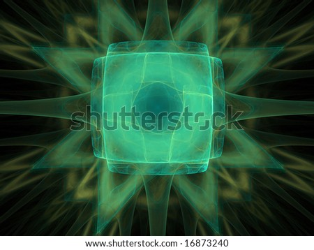 Abstract figure. Green palette. Raster fractal graphics.