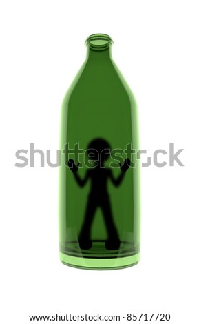 Abstract figure of a man in a bottle. Symbolic representation of an addiction to alcohol. - stock photo