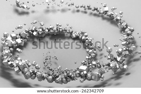 Abstract Figures Particles Background - stock photo