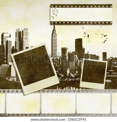 Abstract film strip background with stylized city skyline and instant photos - stock photo