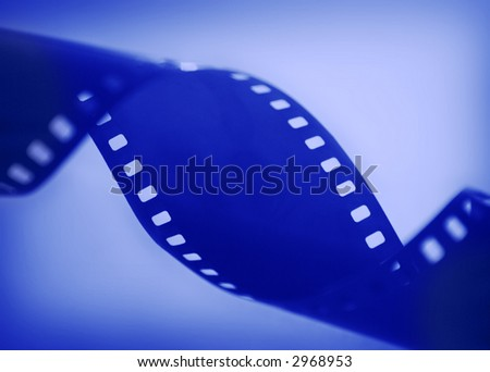 Abstract film strip in blue - stock photo