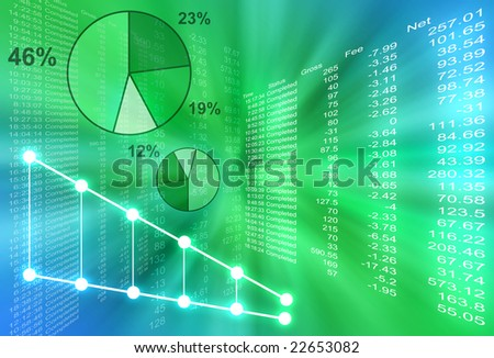 Abstract financial figures are coming out of the center with various pie graphs. The background is green and blue. - stock photo