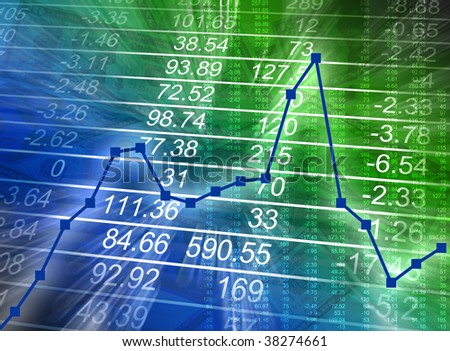 Abstract financial figures are glowing on a blue and green background with a graph increasing then decreasing. Can represent business finances or the bad economy. - stock photo