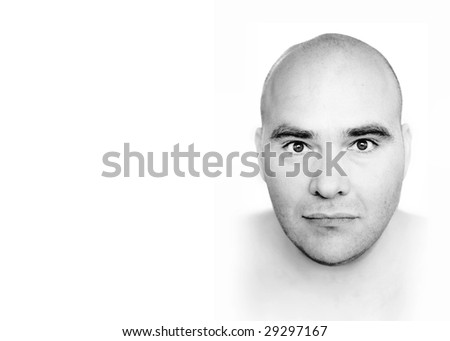 Abstract fine art black and white portrait of a bald man