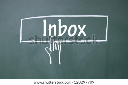 abstract finger click Inbox sign - stock photo