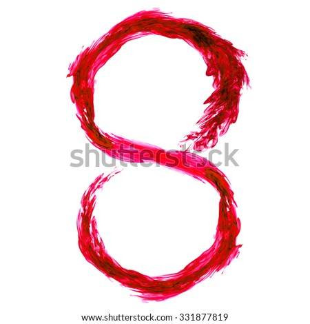 Abstract fire or flame design of number 8 in detail.