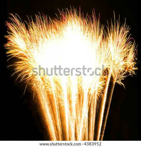 abstract fireworks isolated on black for a postcard - stock photo
