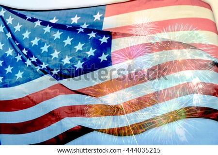 Abstract flag of the USA waving with fireworks, American flag background - stock photo