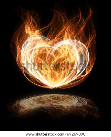 abstract flaming heart shape illustration - stock photo
