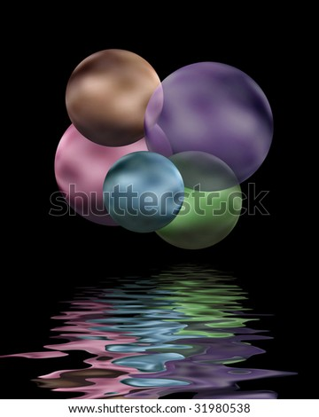 Abstract floating bubbles with rippling reflection