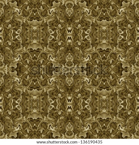 Abstract flora and fauna fractal art ornament. Seamless pattern. Illustration. - stock photo