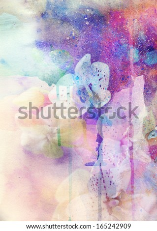 Abstract floral background- watercolor grunge texture - stock photo