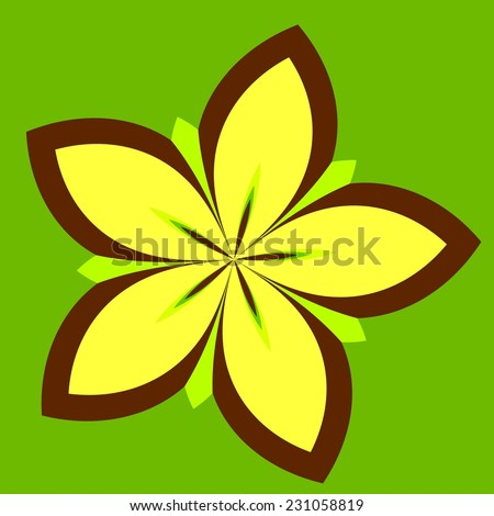 Abstract Floral Background - Yellow Concentric Daisy Flower Plant Isolated on Green Color - Petal Shape Design - Star Fruit - Blooming Lotus - Outlined Illustration of Spring Blossom - Symmetrical - stock photo